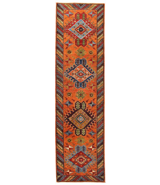 302x83 cm Handgeknoopt Kazak Vloerkleed Wollen Loper Tapijt