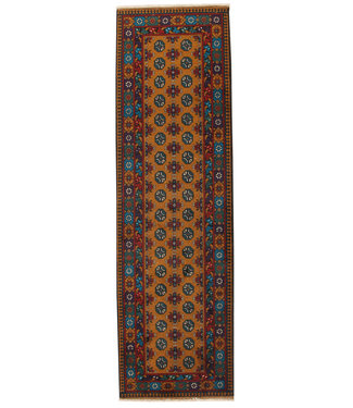 290x85 cm Hand Knotted Traditional Aqcha Wool Oriental Runner Rug