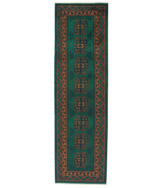 296x86 cm Hand Knotted Traditional Aqcha Wool Oriental Runner Rug