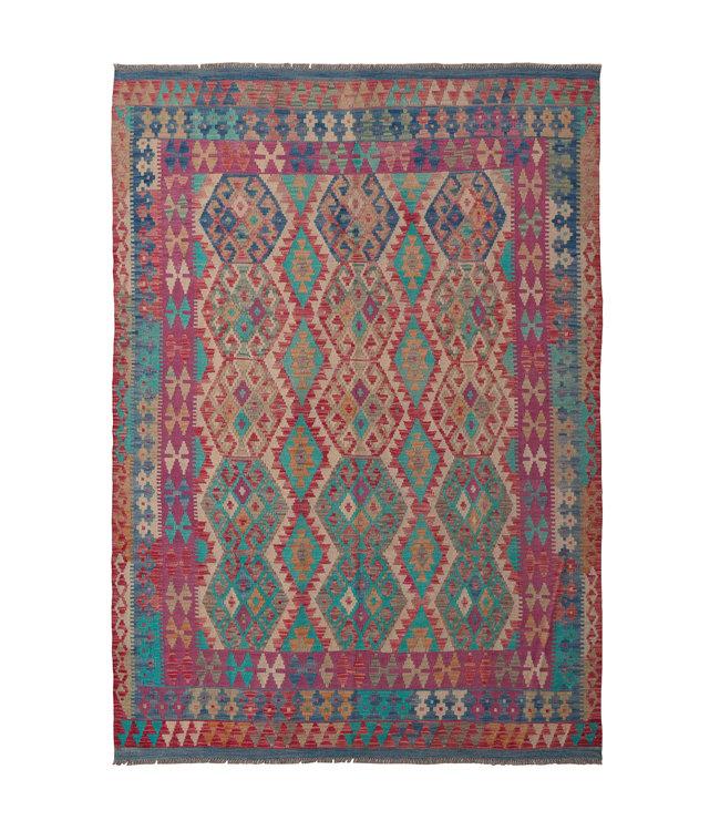 246x175 cm Handgeweven Oosters Kelim Tapijt Wol Vloerkleed