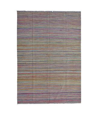 244x171 cm Handgeweven Modern Kelim Tapijt Wol Vloerkleed