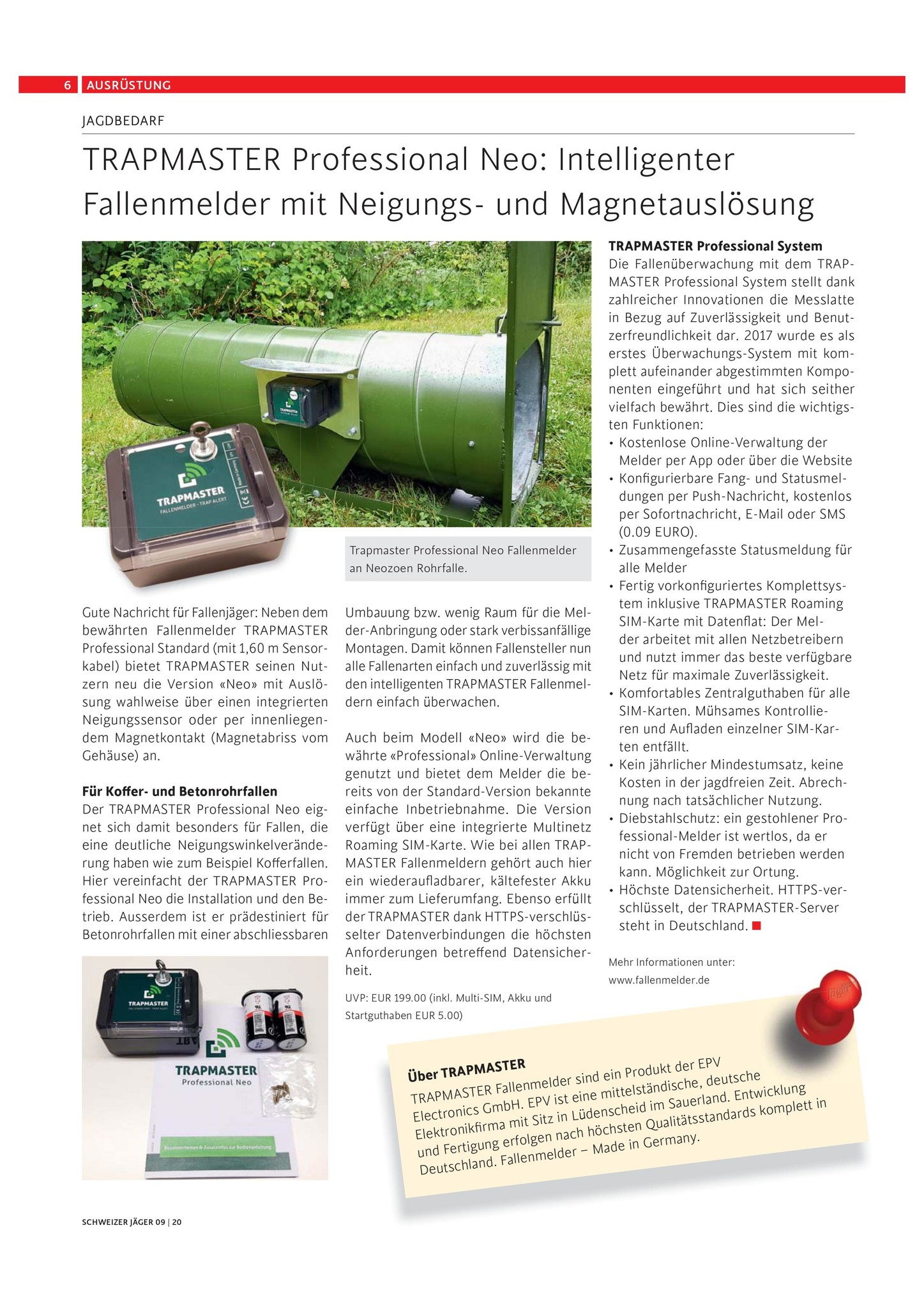 TRAPMASTER Professional Neo im Schweizer Jäger