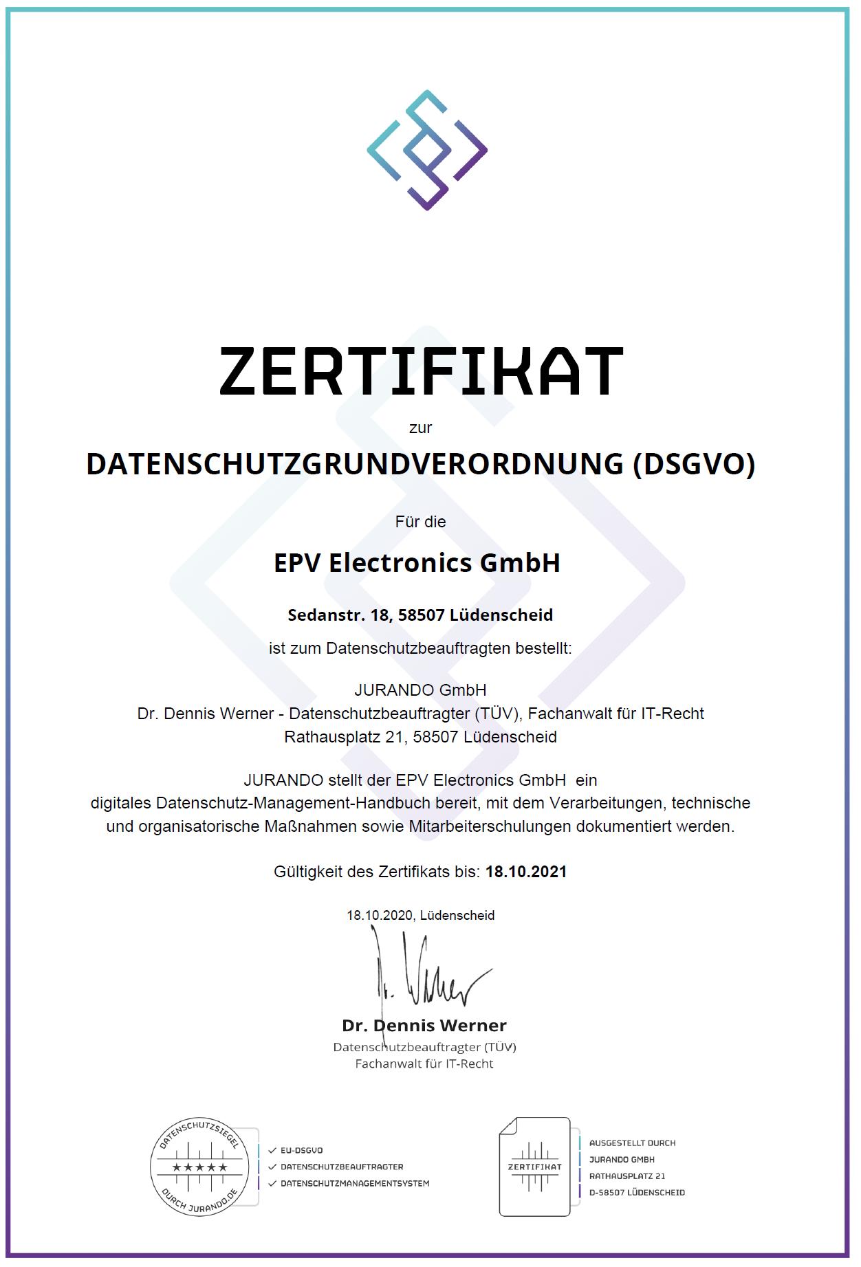 TRAPMASTER DSGVO Zertifikat