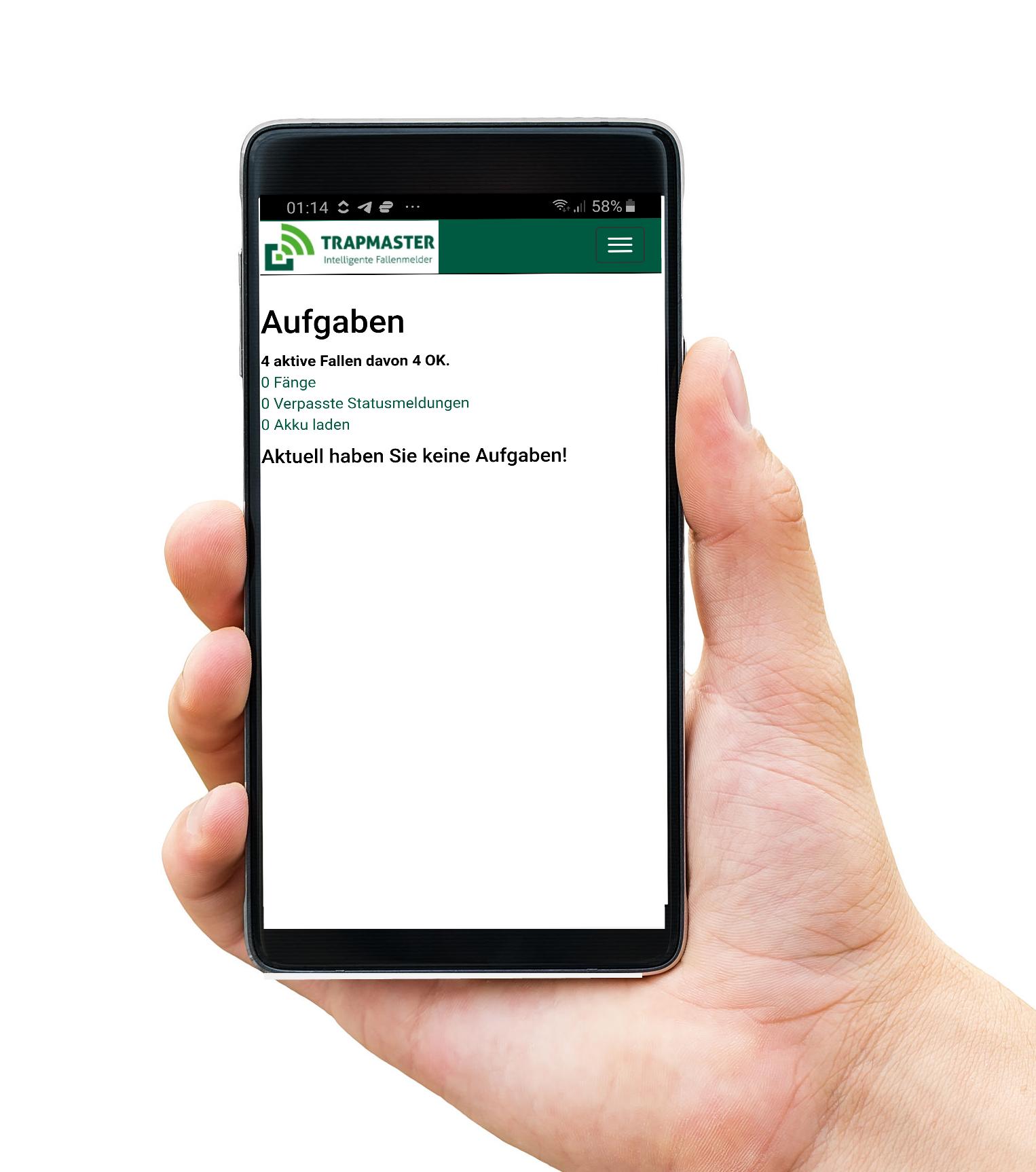 Online Verwaltung von Fallenmelder und Fallen TRAPMASTER App