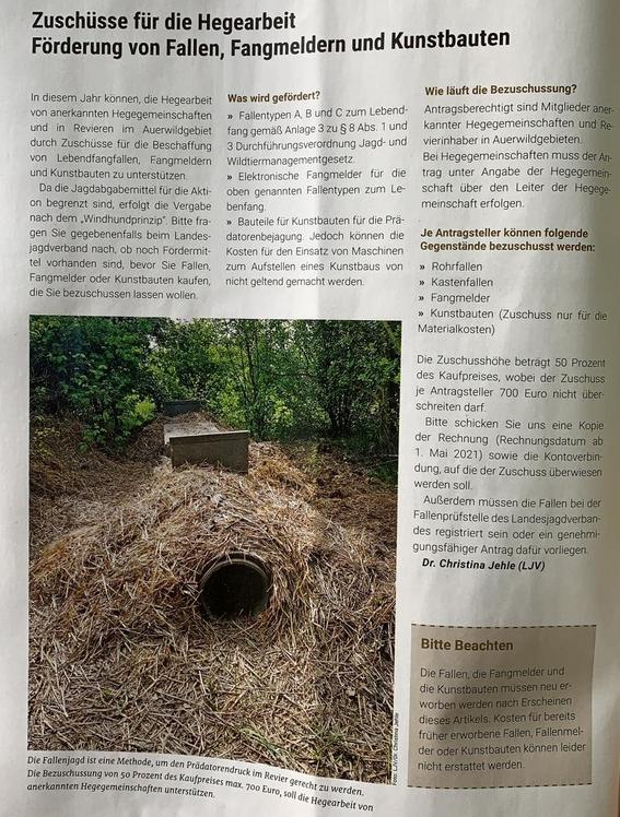 Zuschüsse für Fallen, Fangmelder und Kunstbaue in Baden-Württemberg