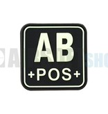 JTG Bloodtype Square PVC Patch AB POS (Glow In The Dark)