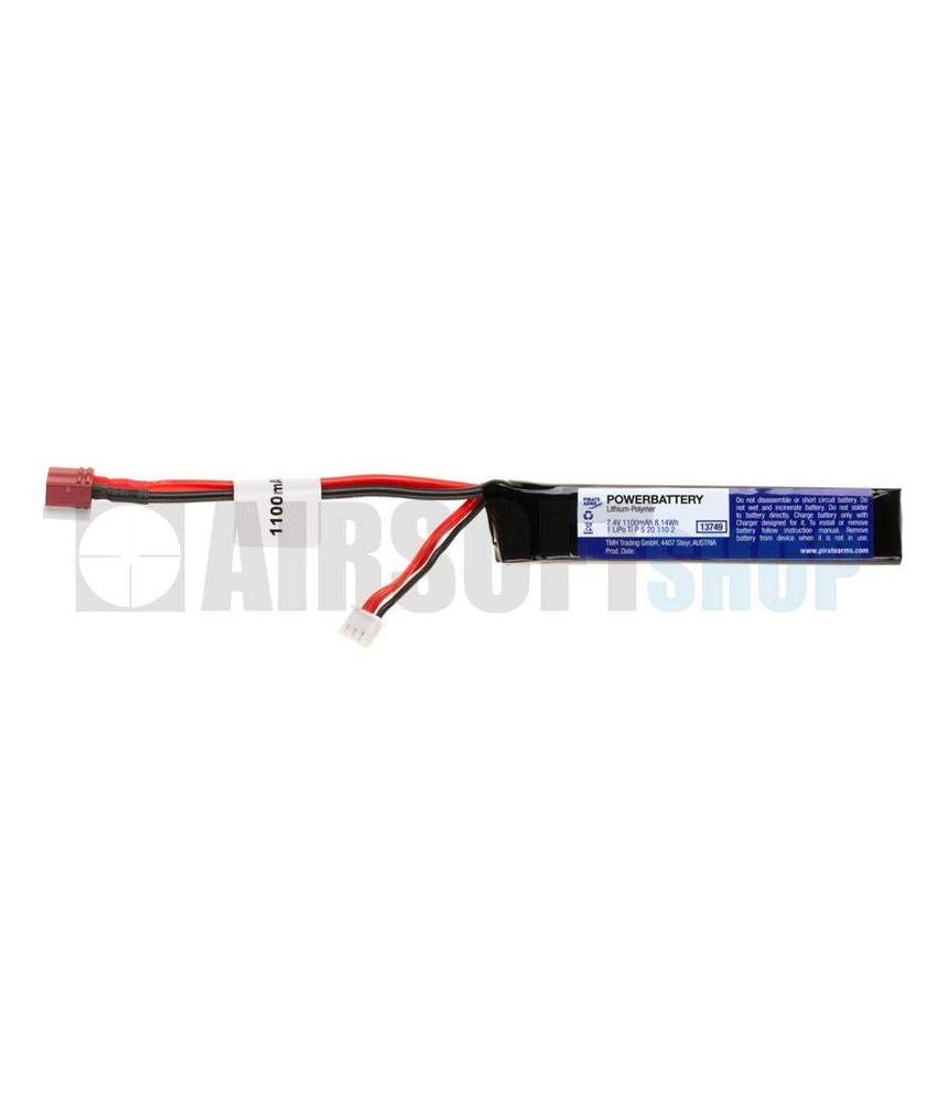 Pirate Arms LiPo 7.4V 1100mAh 15C Stick Type (Deans)