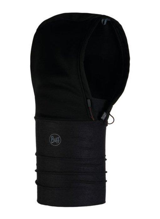 Buff Windproof Hoodie Solid Black Nekwarmer
