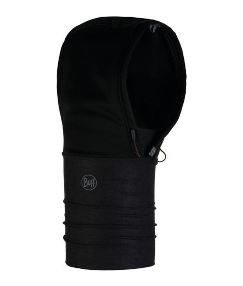 Buff Windproof Hoodie Solid Black Nekwarmer