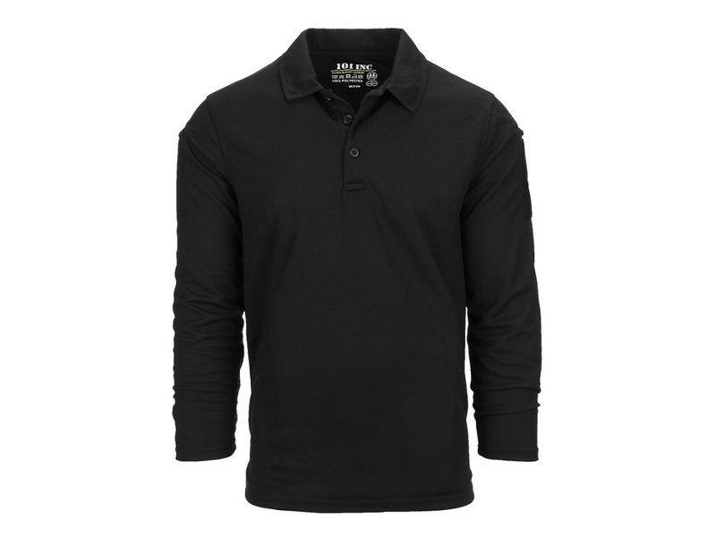 101 Inc Tactical Polo Quick Dry Long Sleeve (Black)
