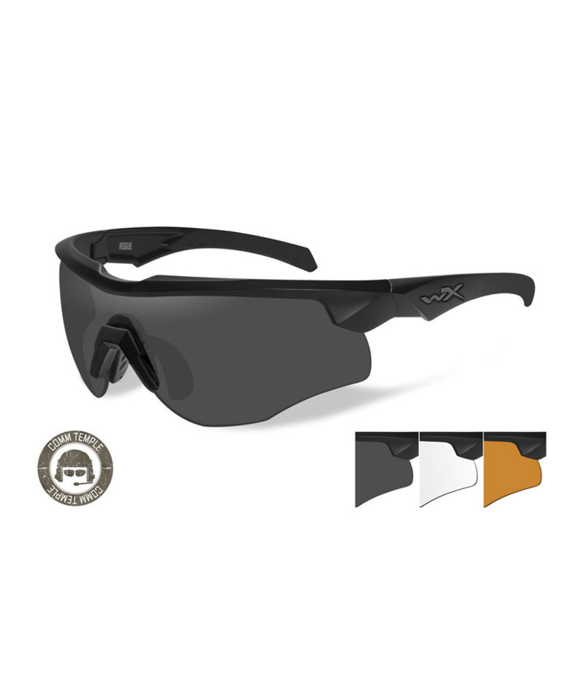 Wiley X Rogue Comm 3 Lens Kit (Black Frame)