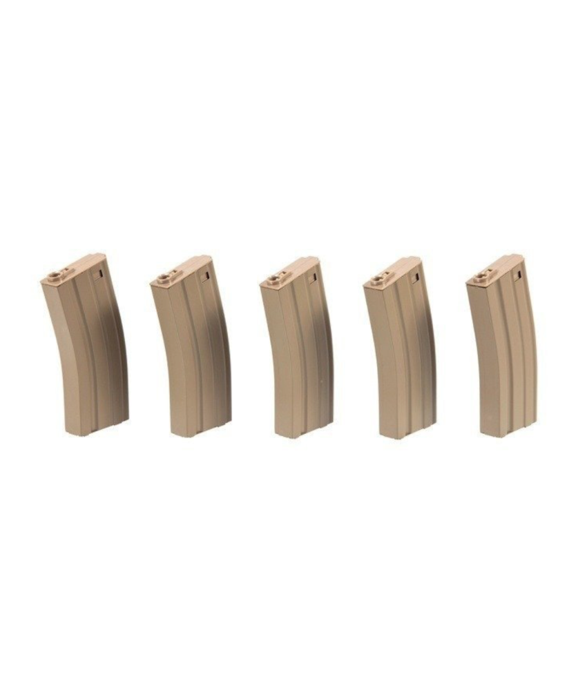Specna Arms M4/M16 Metal Midcap 5-Pack 100rds (Tan)