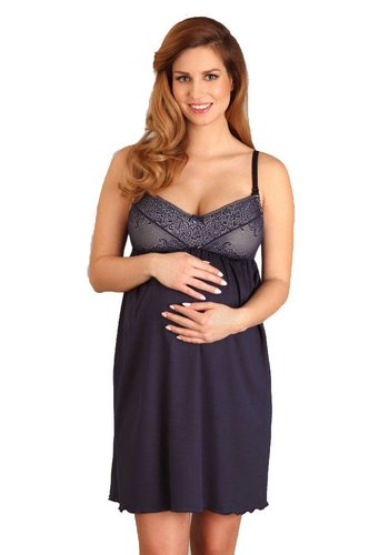 Zwangerschapsnachthemd / Voedingsnachthemd Navy