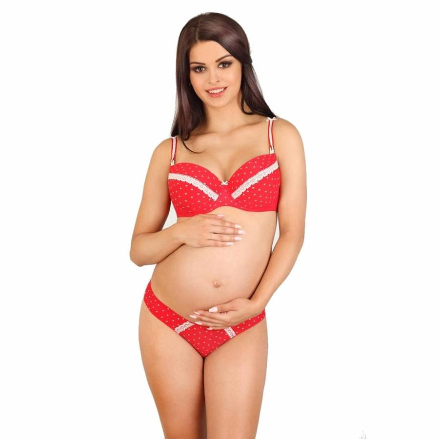 Voedingsbh / Zwangerschapsbh White Hearts voorgevormd met beugel-2