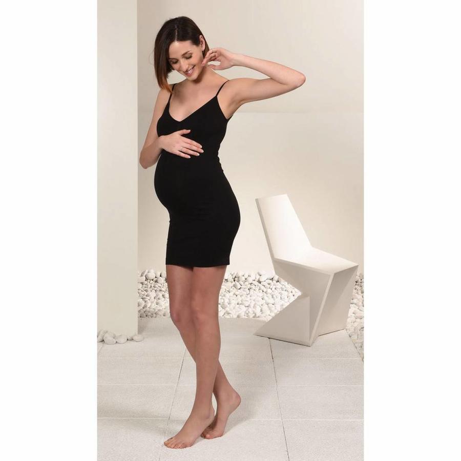Zwangerschaps Onderjurk Naadloos Zwart-2