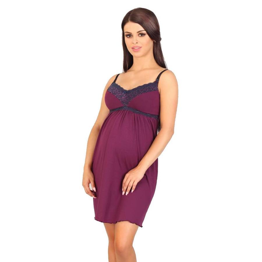 Zwangerschapsjurk / Voedingsjurk Dark Purple-1
