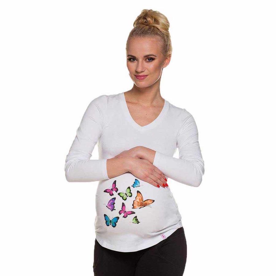 Zwangerschapsshirt Longsleeve Lange Mouw Butterflies-1