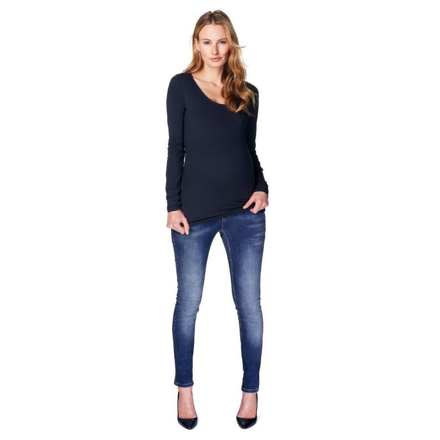 Zwangerschapsshirt Positieshirt Amsterdam Ronde Hals Lange Mouw Donker Blauw-2