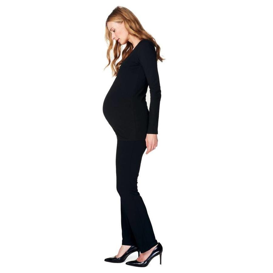 Zwangerschapsshirt Positieshirt Amsterdam Ronde Hals Lange Mouw Zwart-1