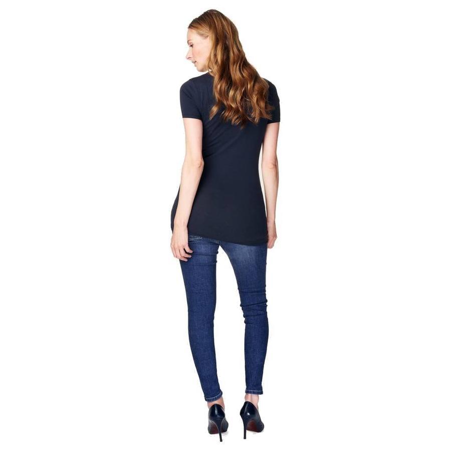 Zwangerschapsshirt Positieshirt V Hals Amsterdam Korte Mouw Donker Blauw-3