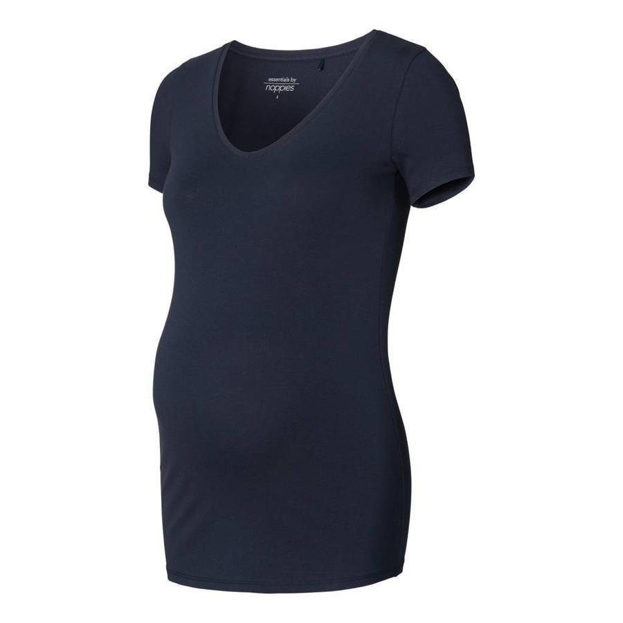 Zwangerschapsshirt Positieshirt V Hals Amsterdam Korte Mouw Donker Blauw-4