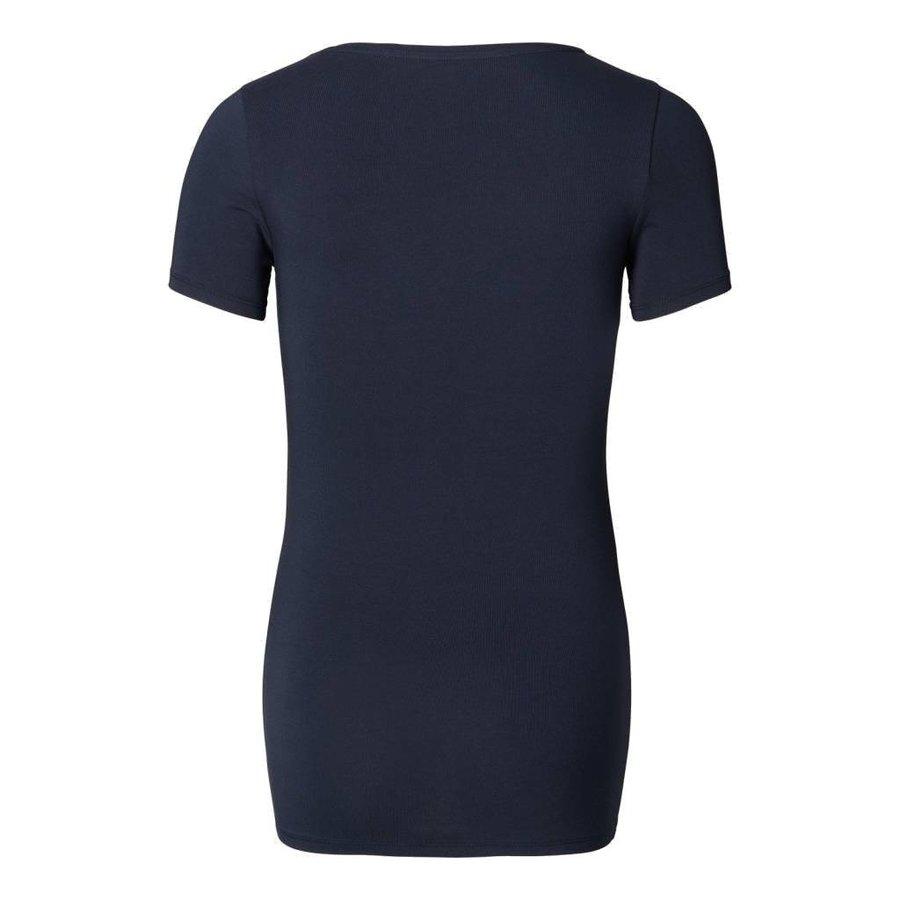 Zwangerschapsshirt Positieshirt V Hals Amsterdam Korte Mouw Donker Blauw-6