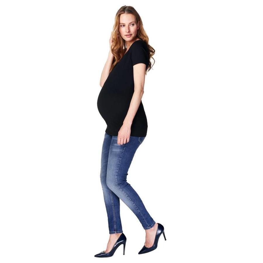 Zwangerschapsshirt V Hals Amsterdam Korte Mouw Zwart-1