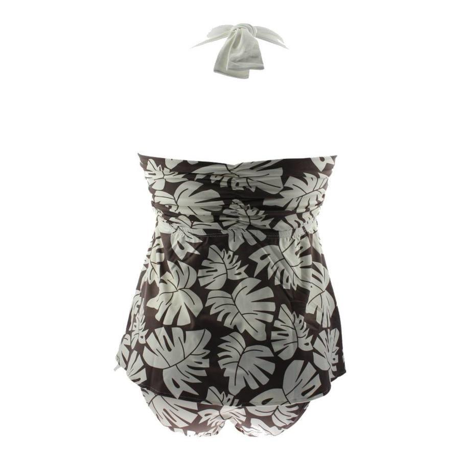 ZwangerschapsTankini Brown Caribbean Flower-3