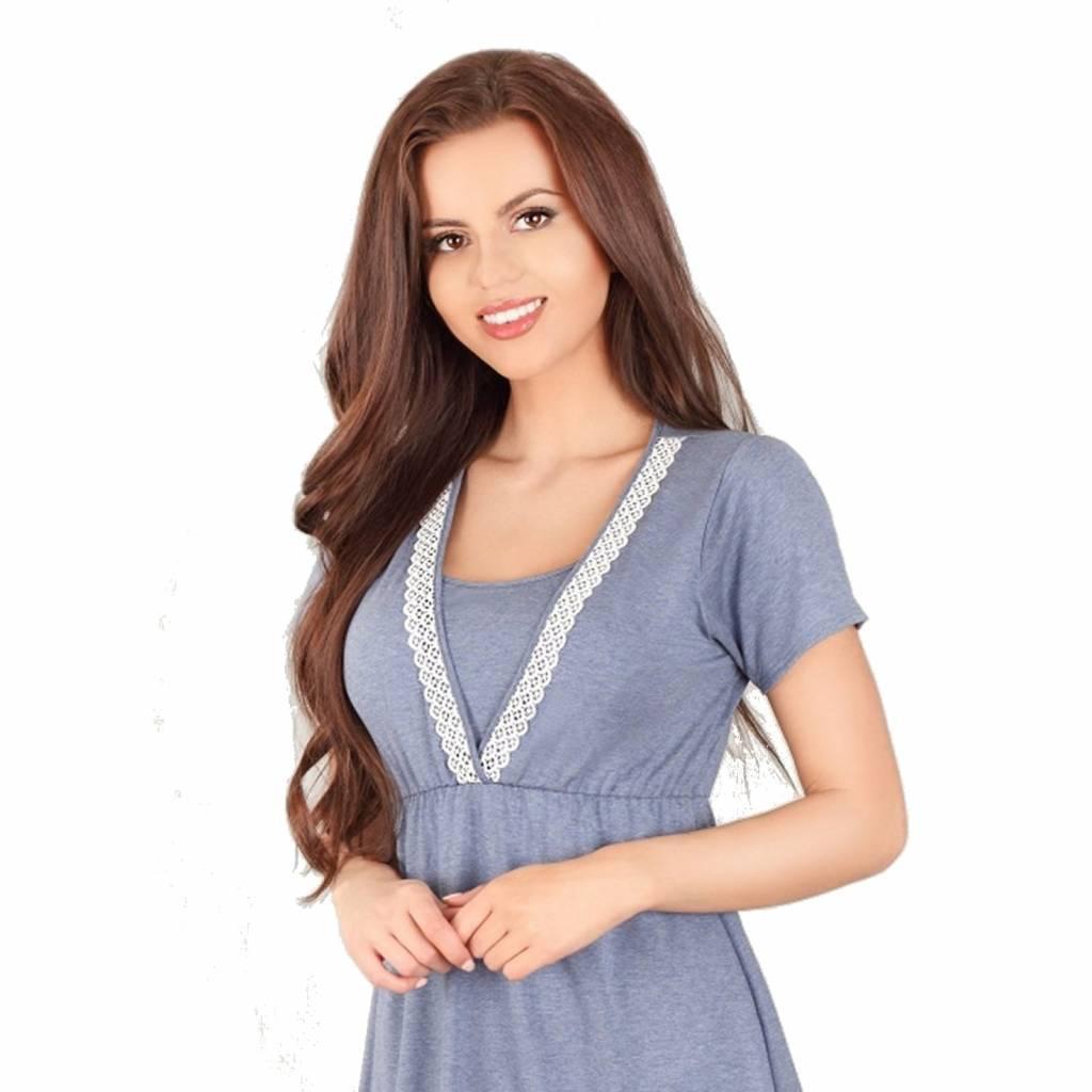 Zwangerschapskleding Vandaag Besteld Morgen In Huis.Lupoline Voedingsshirt Zwangerschapsshirt Dark Blue Mooi En Zwanger
