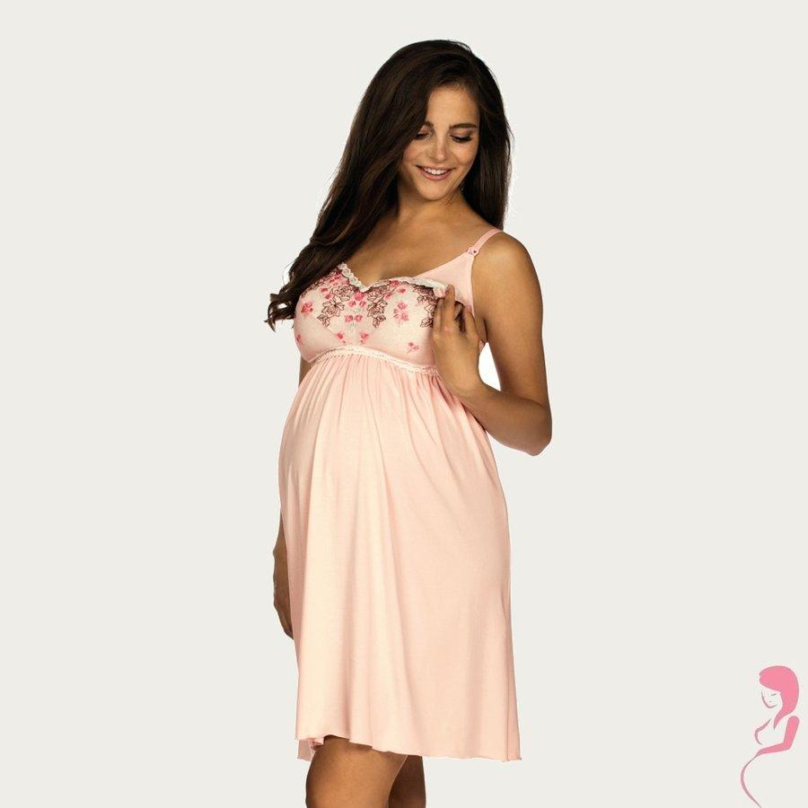 Zwangerschapsjurk / Voedingsjurk Pink Flower-1