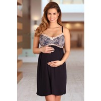 thumb-Zwangerschapsnachthemd / Voedingsnachthemd Navy Blue/Pink-2