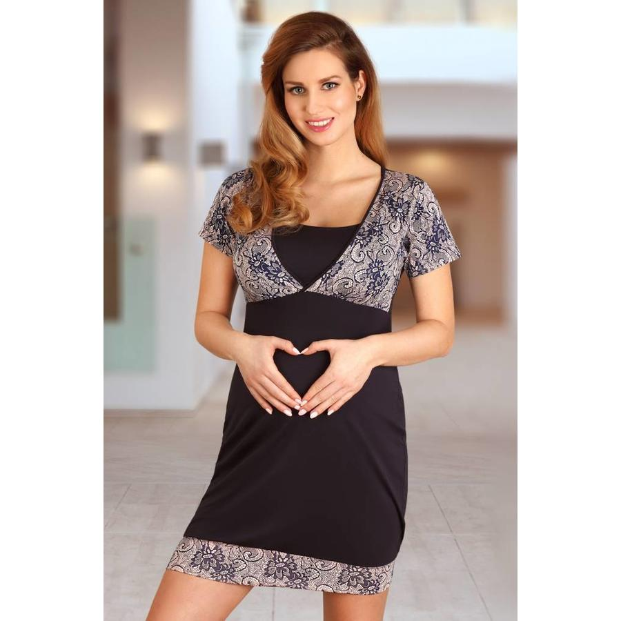 Voedingsnachthemd / Zwangerschapsnachthemd Navy Blue Lupoline-3