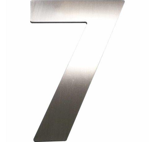Schösswender Hausnummer 7 - Höhe 120 mm, mit 2 Gewindenocken M5, Edelstahl