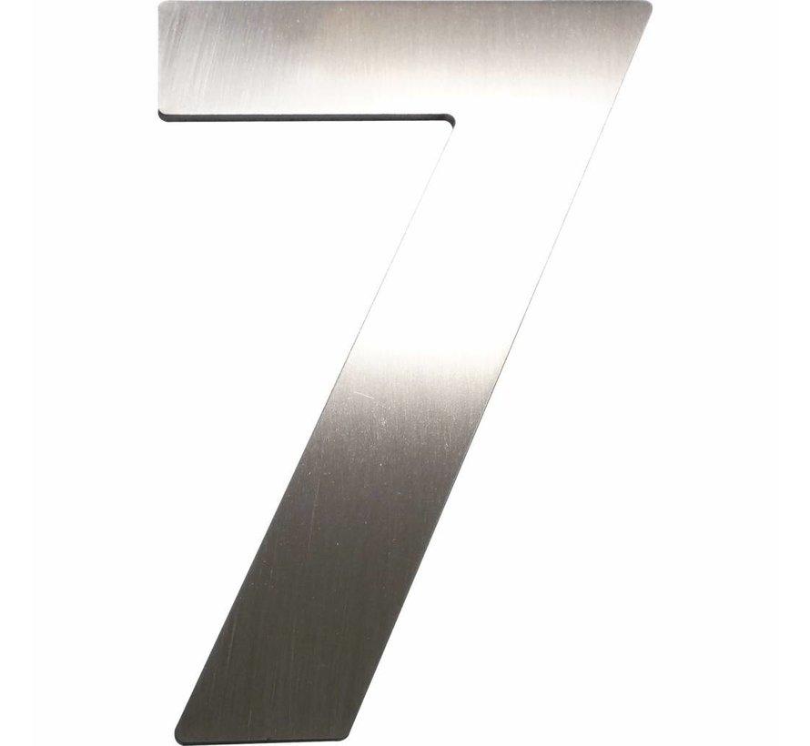 Hausnummer 7 - Höhe 120 mm, mit 2 Gewindenocken M5, Edelstahl