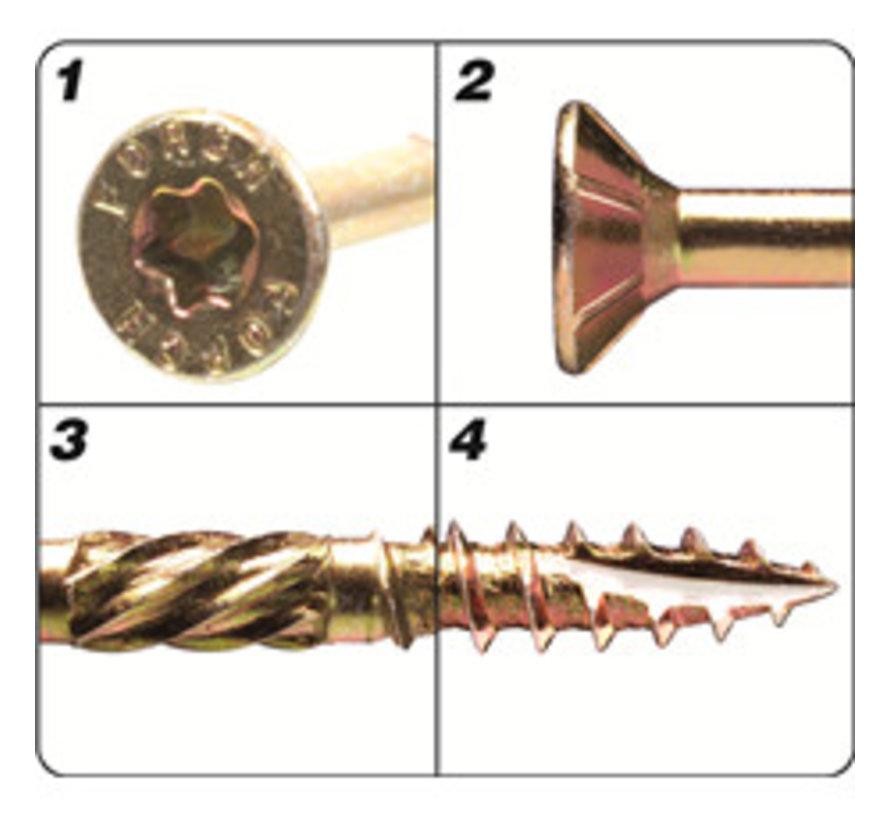 Holzbauschrauben mit Bohrspitze FSK-TX25 GELB 4,5 X 80