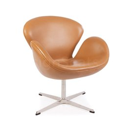Swan chair Cognac Leer