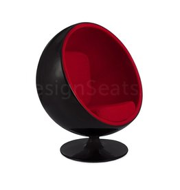 Black Ball Globe Lounge Chair zwart-rood