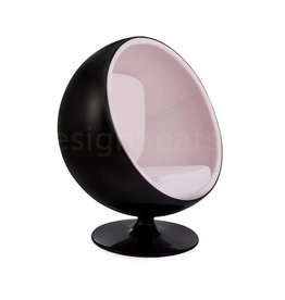 Black Ball Globe Lounge Chair zwart-wit