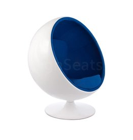 Ball Globe Lounge Chair wit-blauw