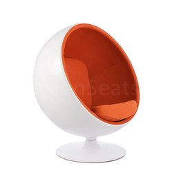Ball Globe Lounge Chair wit-oranje