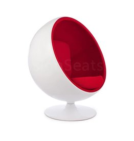 Ball Globe Lounge Chair white-red