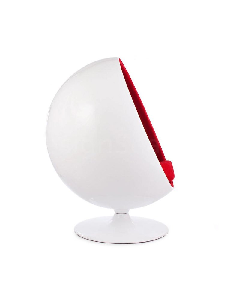Ball Globe Lounge Chair wit-rood