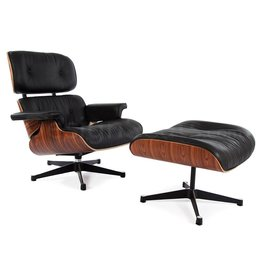 Eames Lounge Chair Rosewood Zwart
