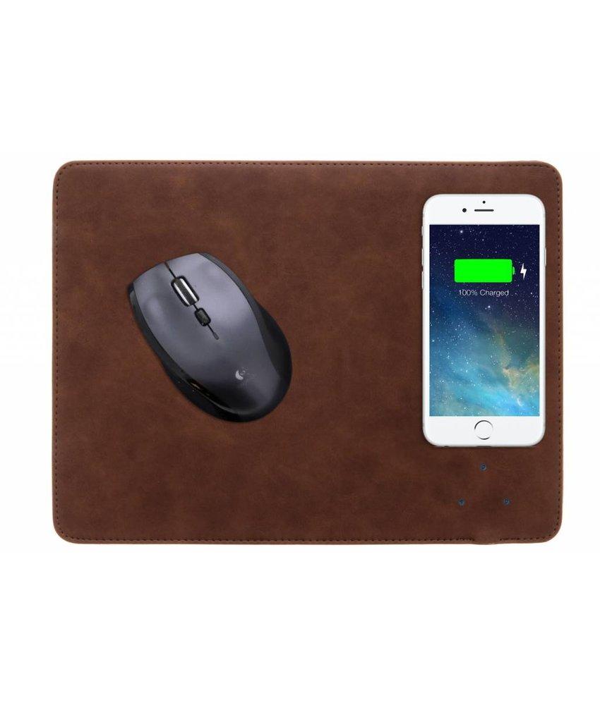 Donkerbruin QI Wireless Charging muismat