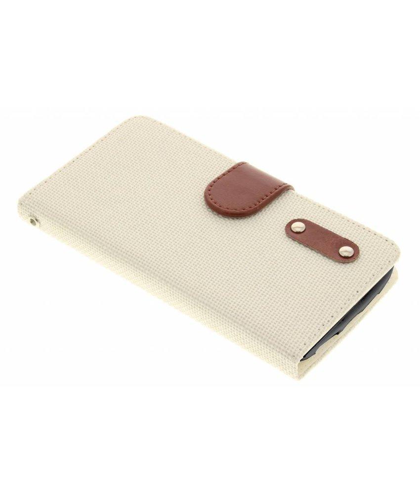 Wit linnen look TPU booktype hoes LG L Bello / L80 Plus