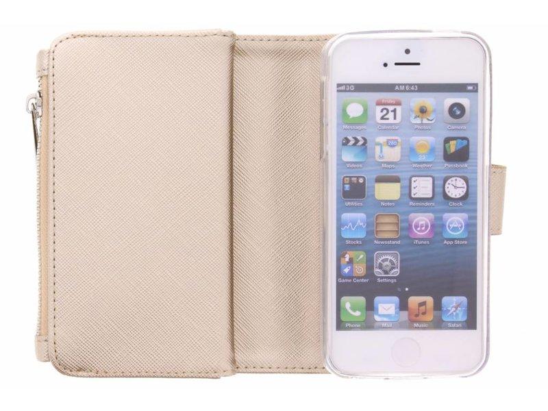 Selencia Saffiano 9 slots Portemonnee voor iPhone SE / 5 / 5s - Goud