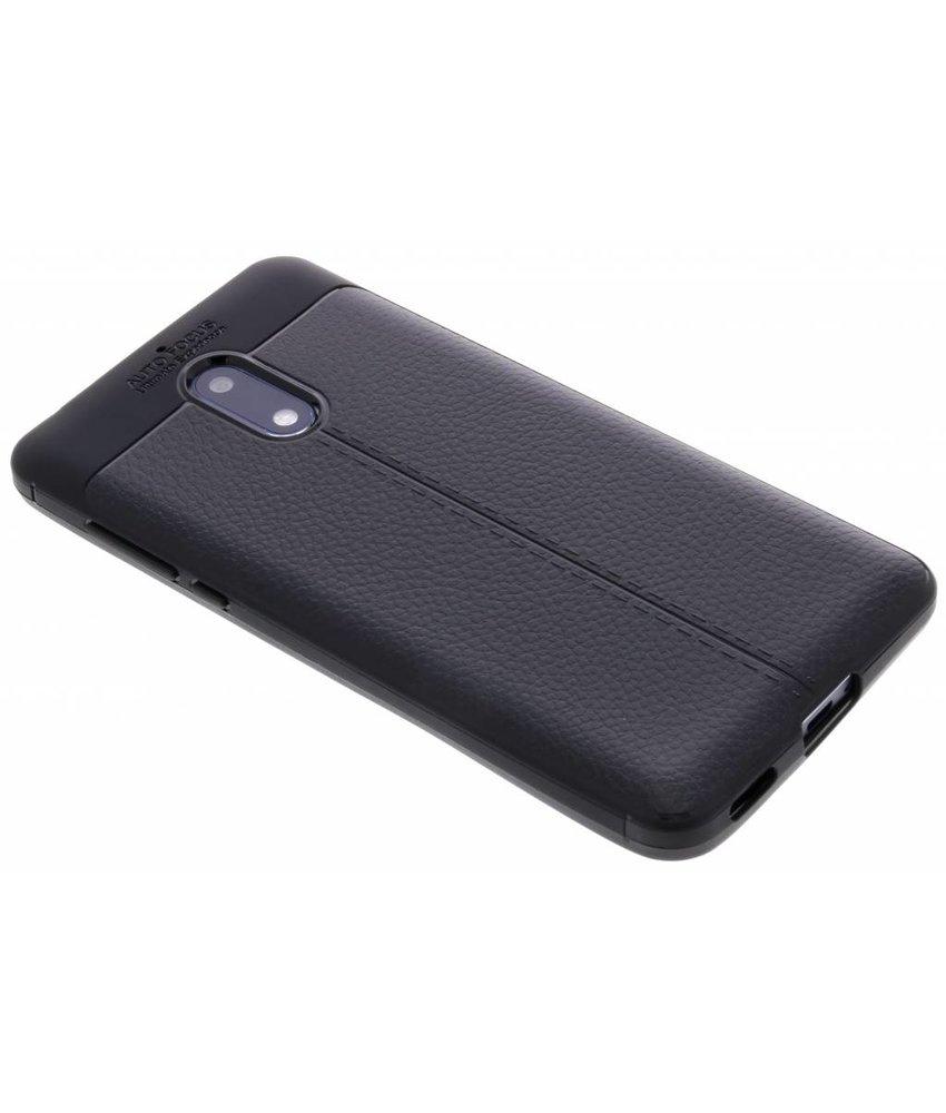 Zwart Lederen siliconen case Nokia 6
