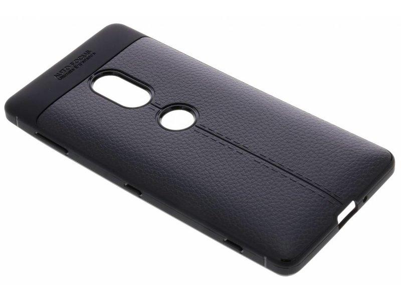 Sony Xperia XZ2 hoesje - Lederen Backcover met stiksel