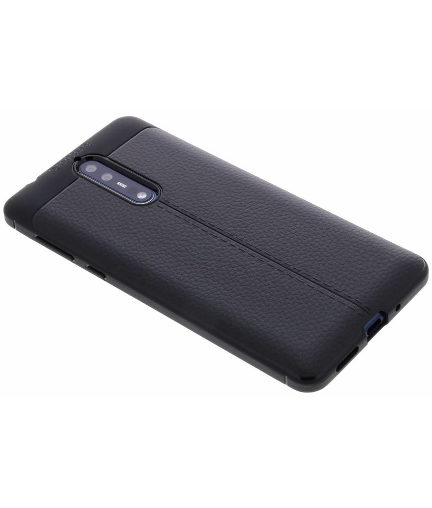 Zwart Lederen siliconen case Nokia 8