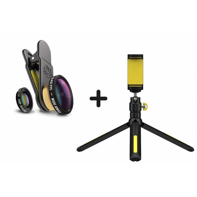 Black Eye Filming Handle Tripod + HD Combo Smartphone Lens